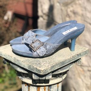 Vintage light blue buckle mule heels, 7